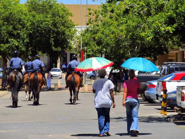 Mafikeng. Police horse patrols. This is not Africa anymore.